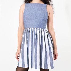 American Apparel Indigo Striped Fit & Flare Dress